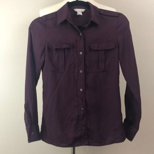Banana Republic Military Button-Up, Red Mahogany